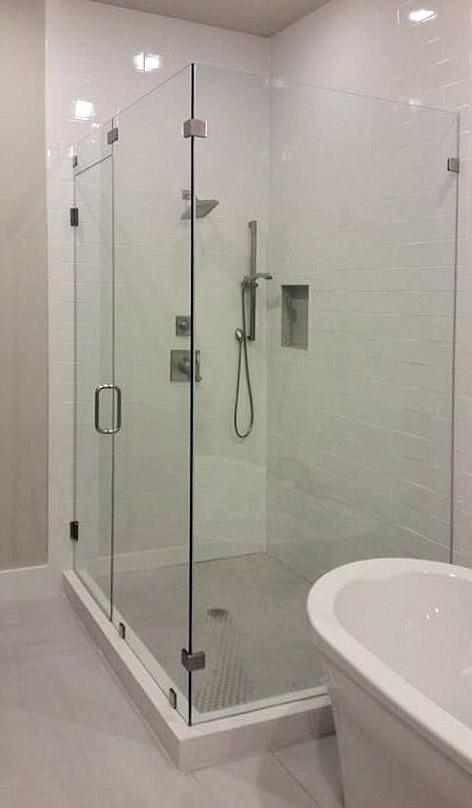 Full 90-Degree Frameless Glass Shower Enclosure