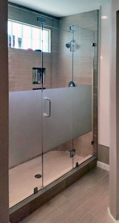Inline Frameless Shower Enclosure with Custom Etched Glass