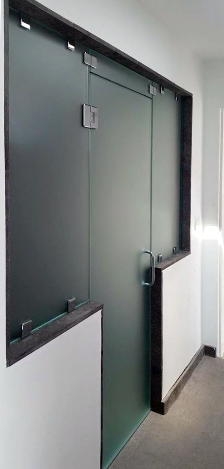 Satin Etched Glass Shower Enclosure