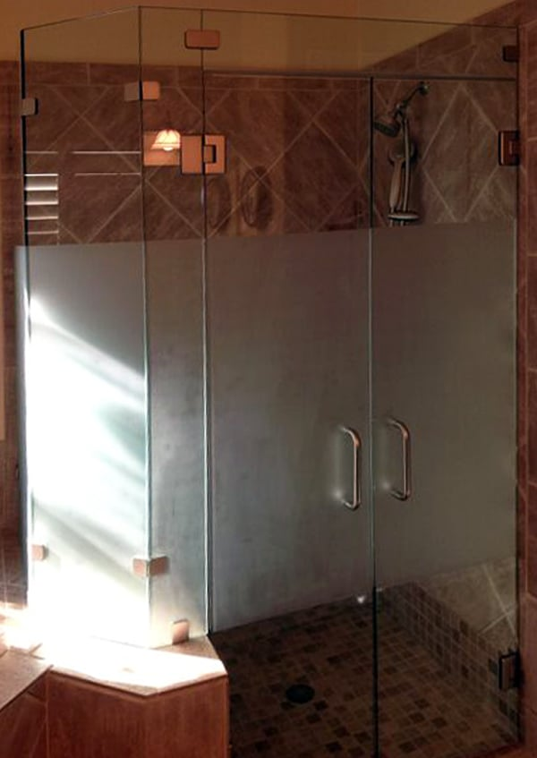 Custom Frosted Shower Enclosure