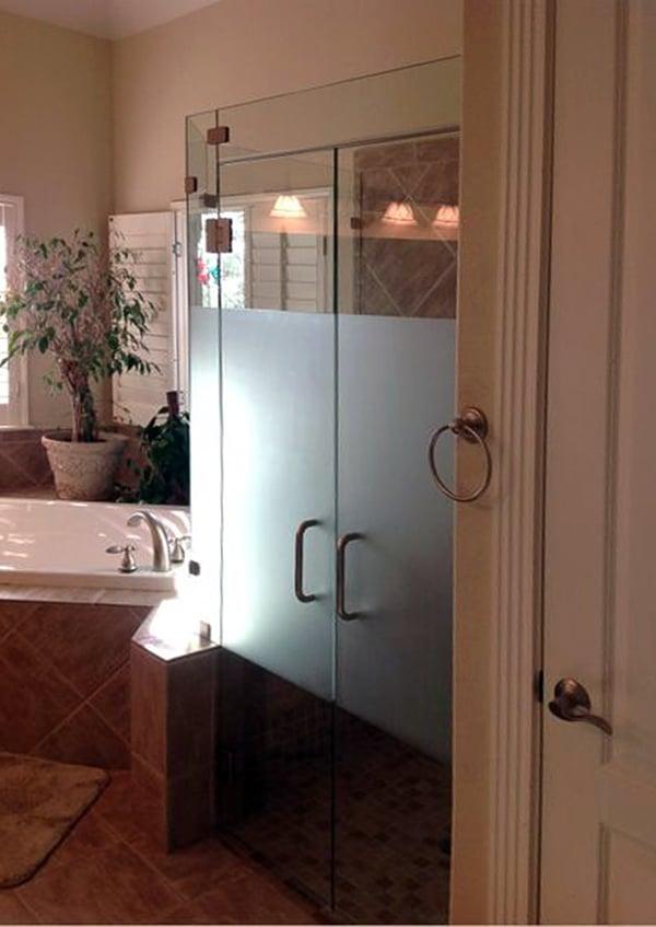 Custom-Frosted Shower Doors