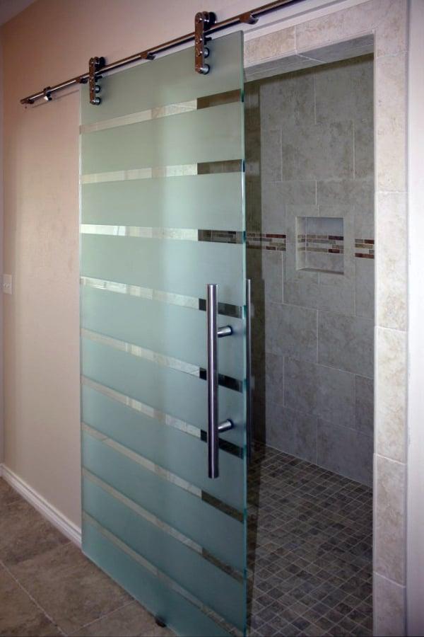 Custom Etched Laguna-Style Glass Shower