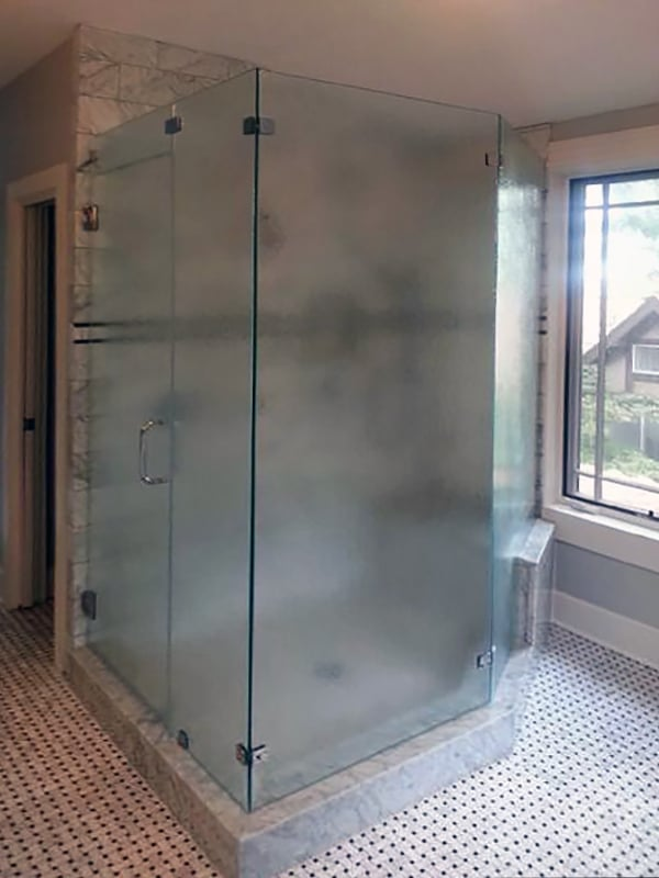 Custom Frosted Glass Shower Enclosure