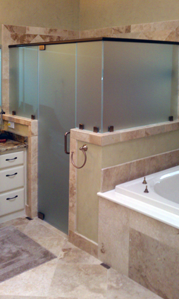 Shower Enclosure with Custom Etched Glass
