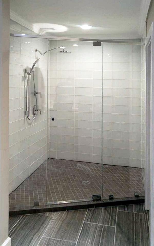 Inline Shower Door and Glass Panels, Plus Glass Tiles