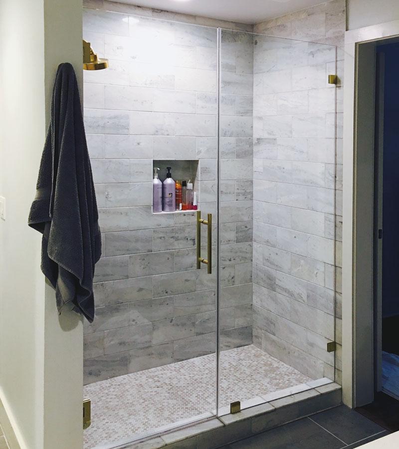 Frameless Inline Shower Door and Panel