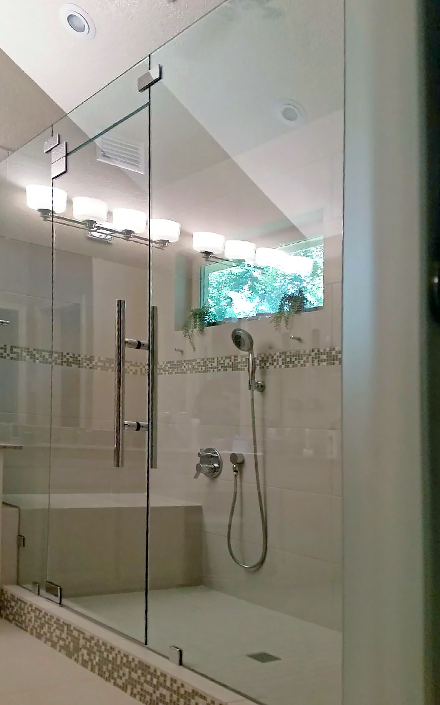 Inline Shower Enclosure with Ladder Pull Handle