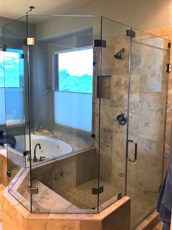 Frameless Neo Angle Shower with Pony Wall