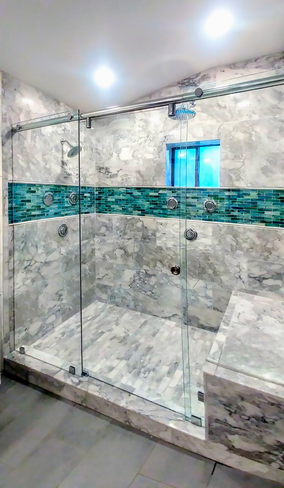Custom Three-Panel Hydroslide Shower Door