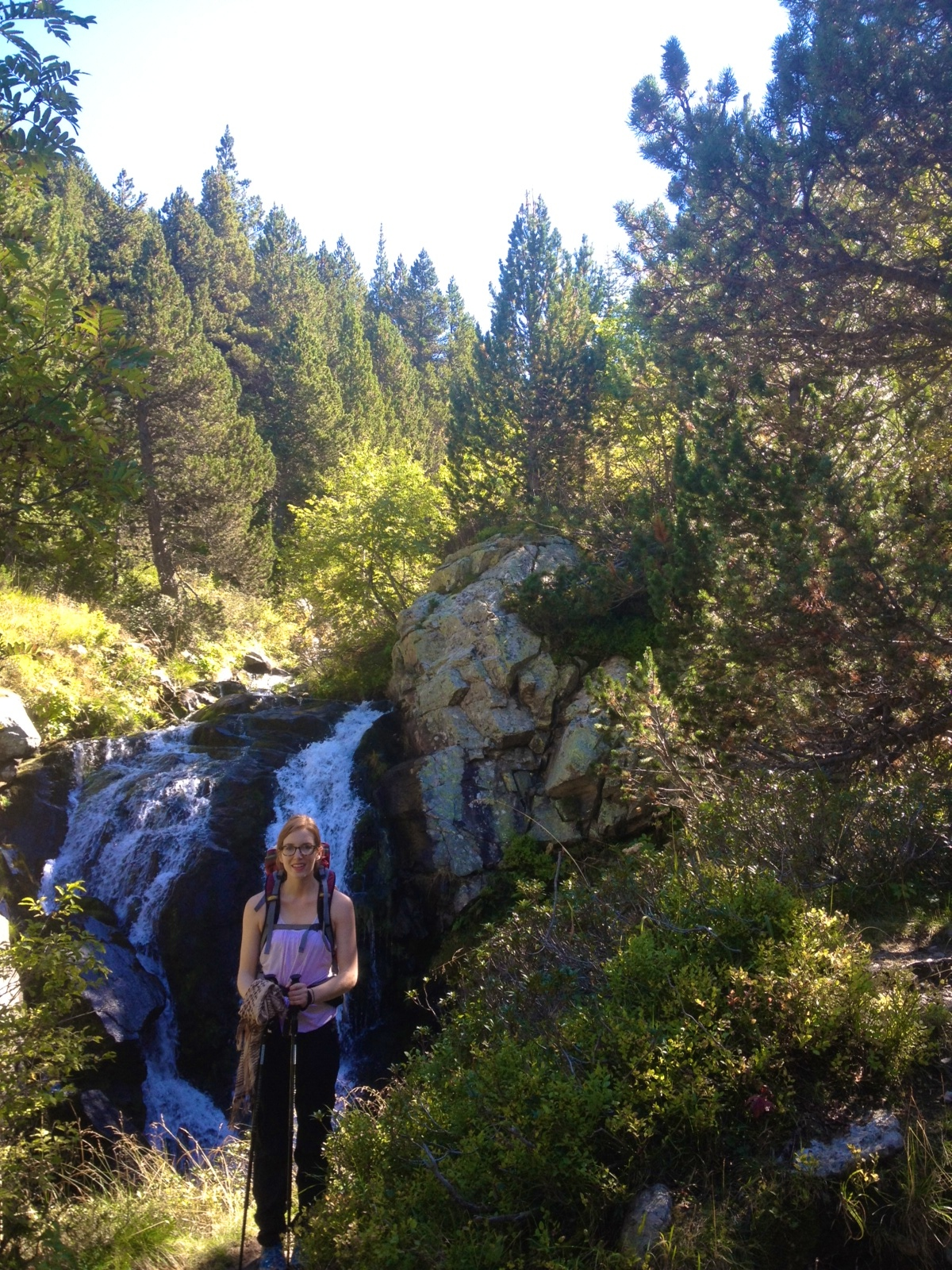 waterfall along hike in Andorra