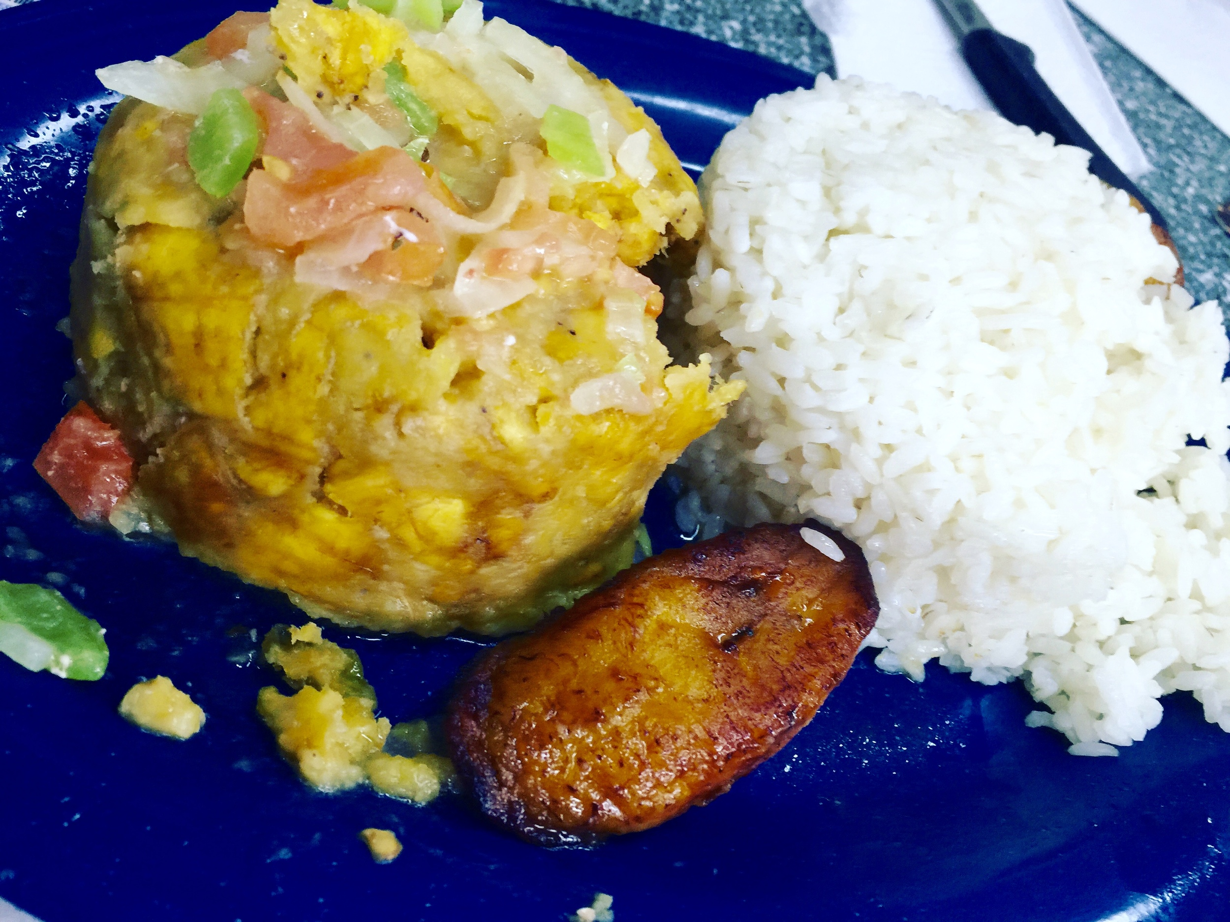mofongo, rice and a side of plantains