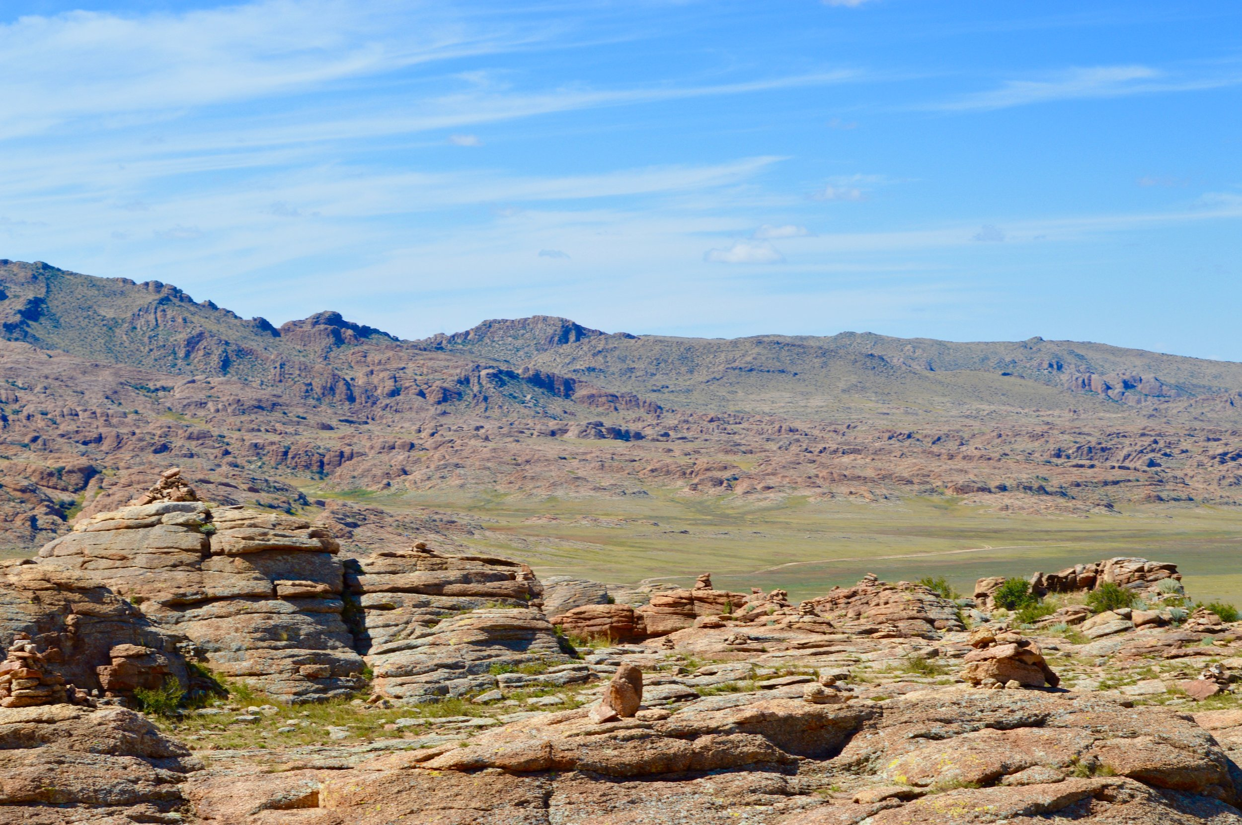 View of the Baga Gazariin Chuluu mountain range from the monastery