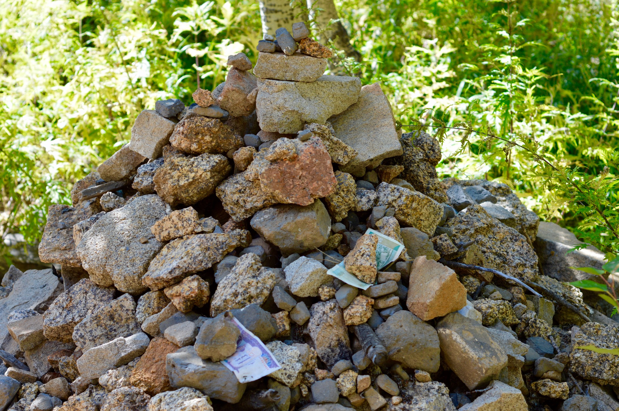 An ovoo - a sacred stack of rocks