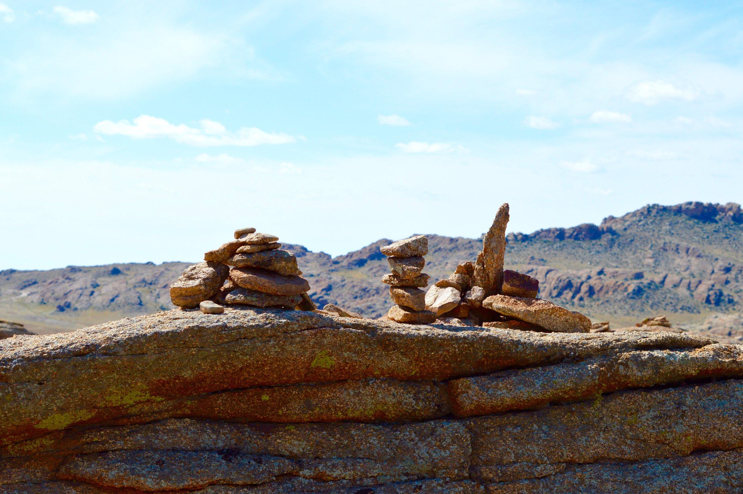 Ovoos - sacred stacks of rocks