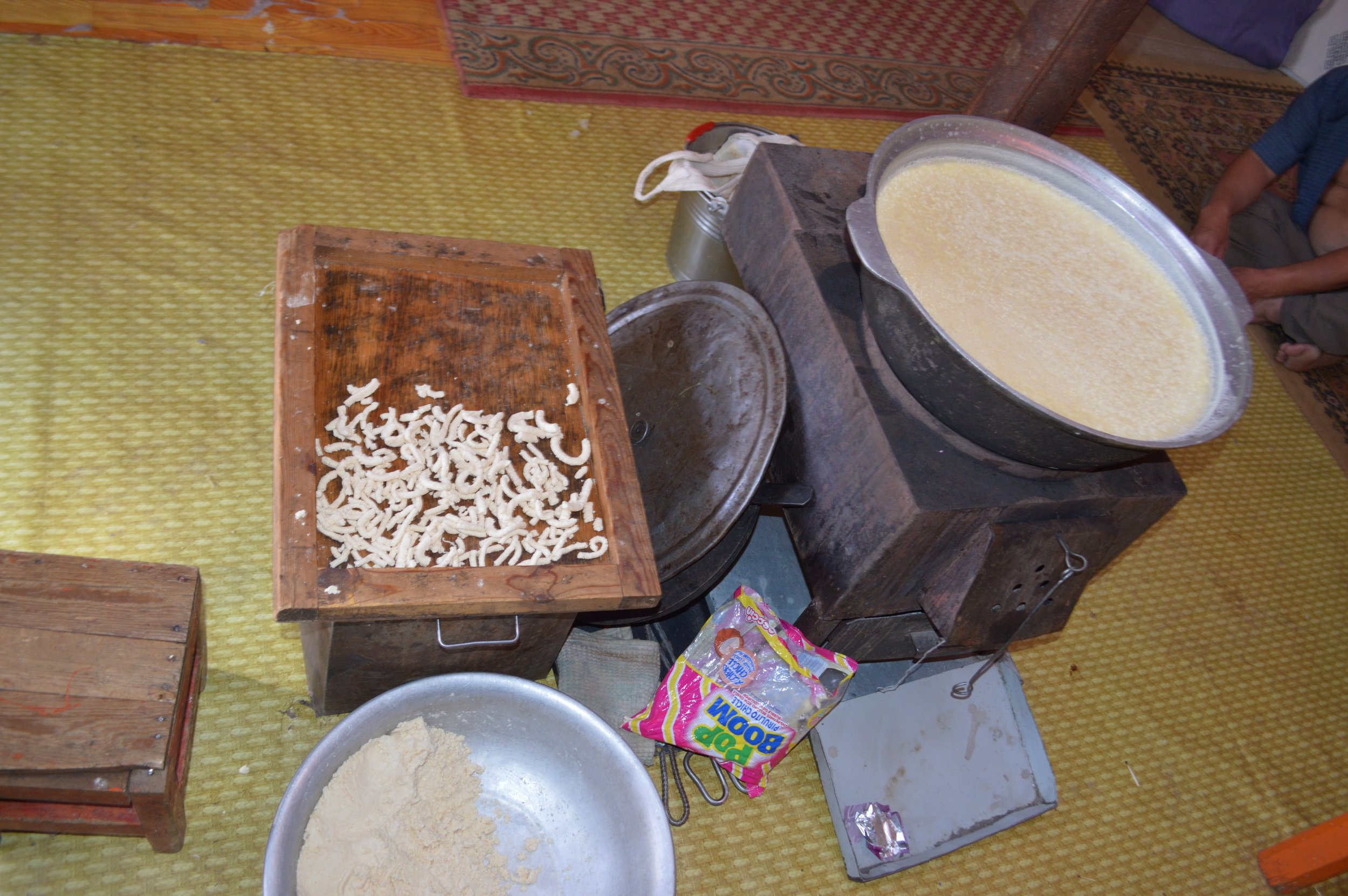 Small pieces of milk curd and milk products