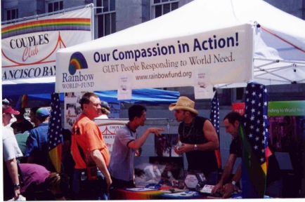 RWF volunteers doing outreach at a LGBT Pride celebration.