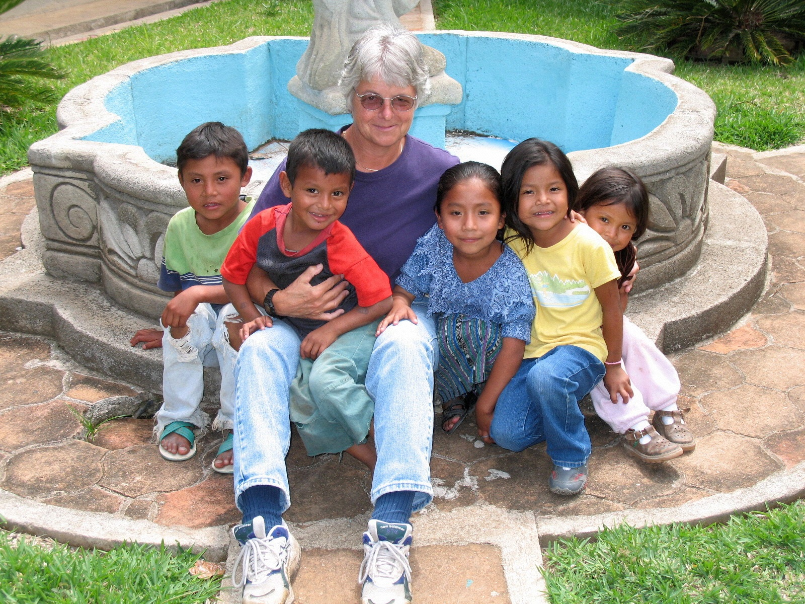 Barb Pallari making new friends on an RWF humanitarian aid trip.