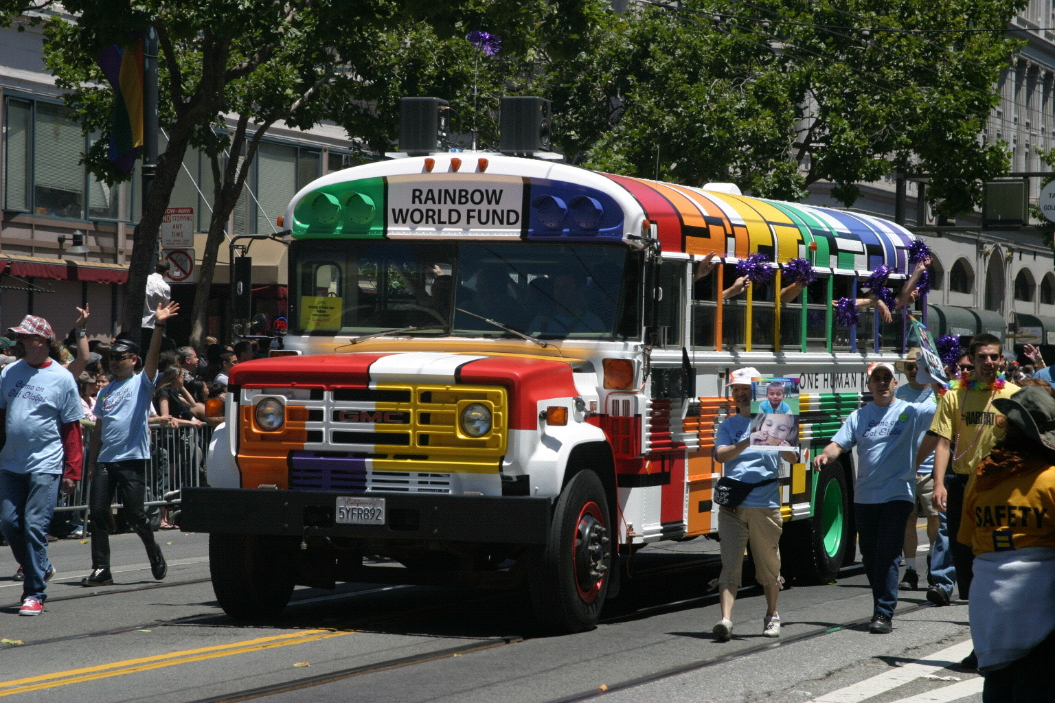 The Rainbow Bus at LGBT Pride in San Francisco, CA. We use the bus to deliver humanitarian aid to projects in Tijuana, Mexico.