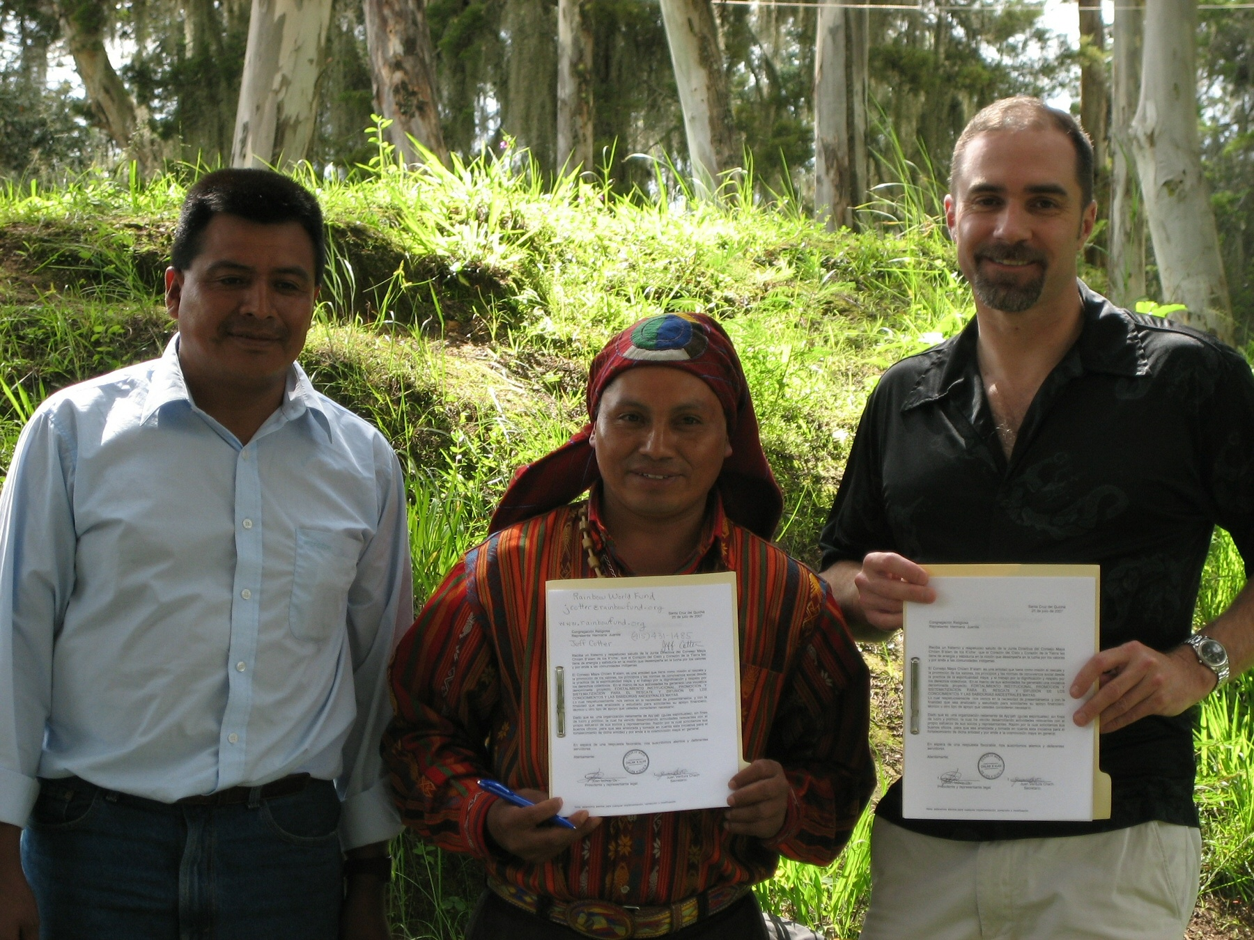RWF Founder Jeff Cotter with Mayan Shamans. RWF has funded many aid projects in Guatemala.