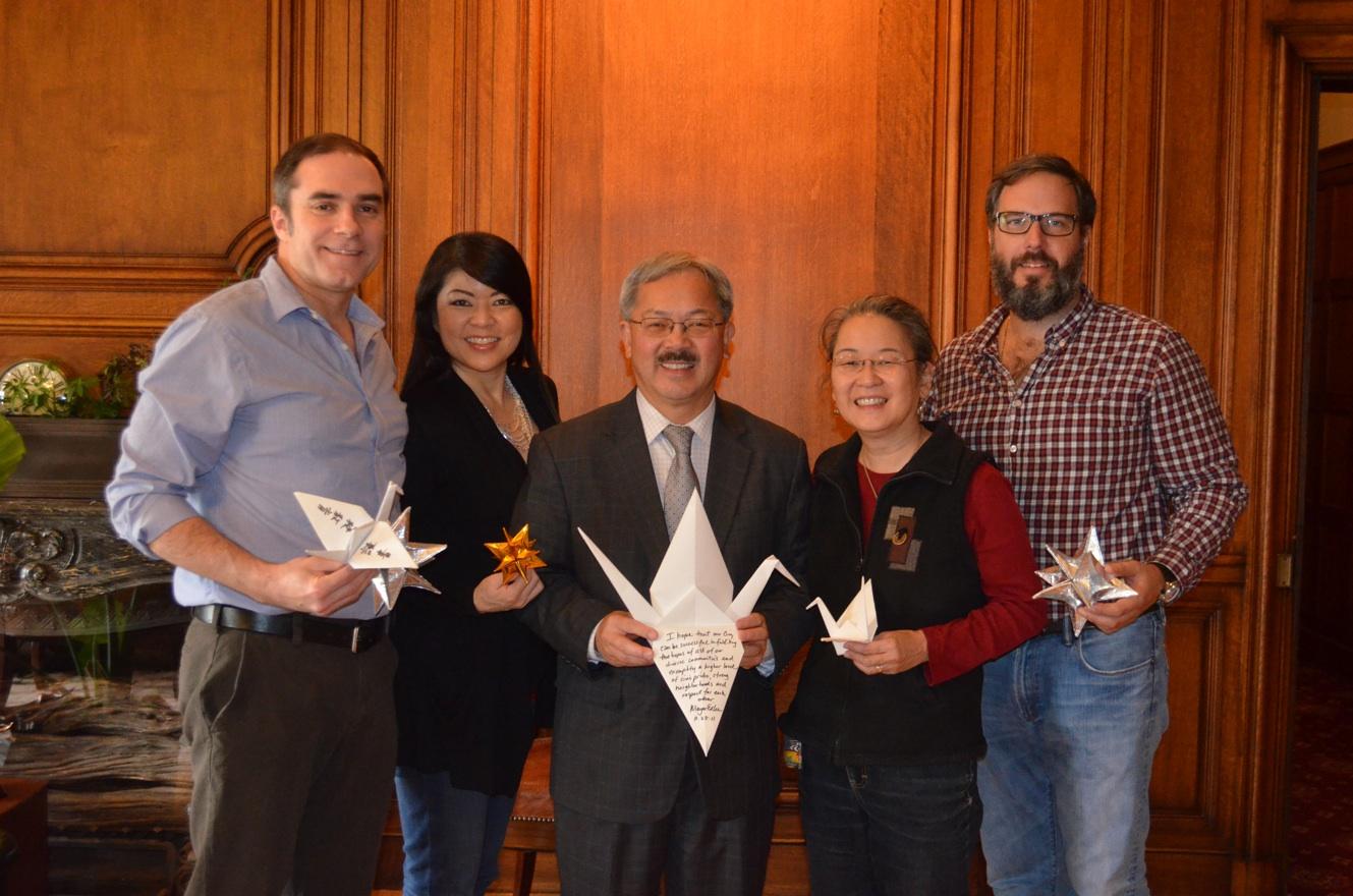 San Fransciso Mayor Ed Lee (center) with Jeff Cotter, Linda Mihara, Karen Kai, Paul Stankiewicz