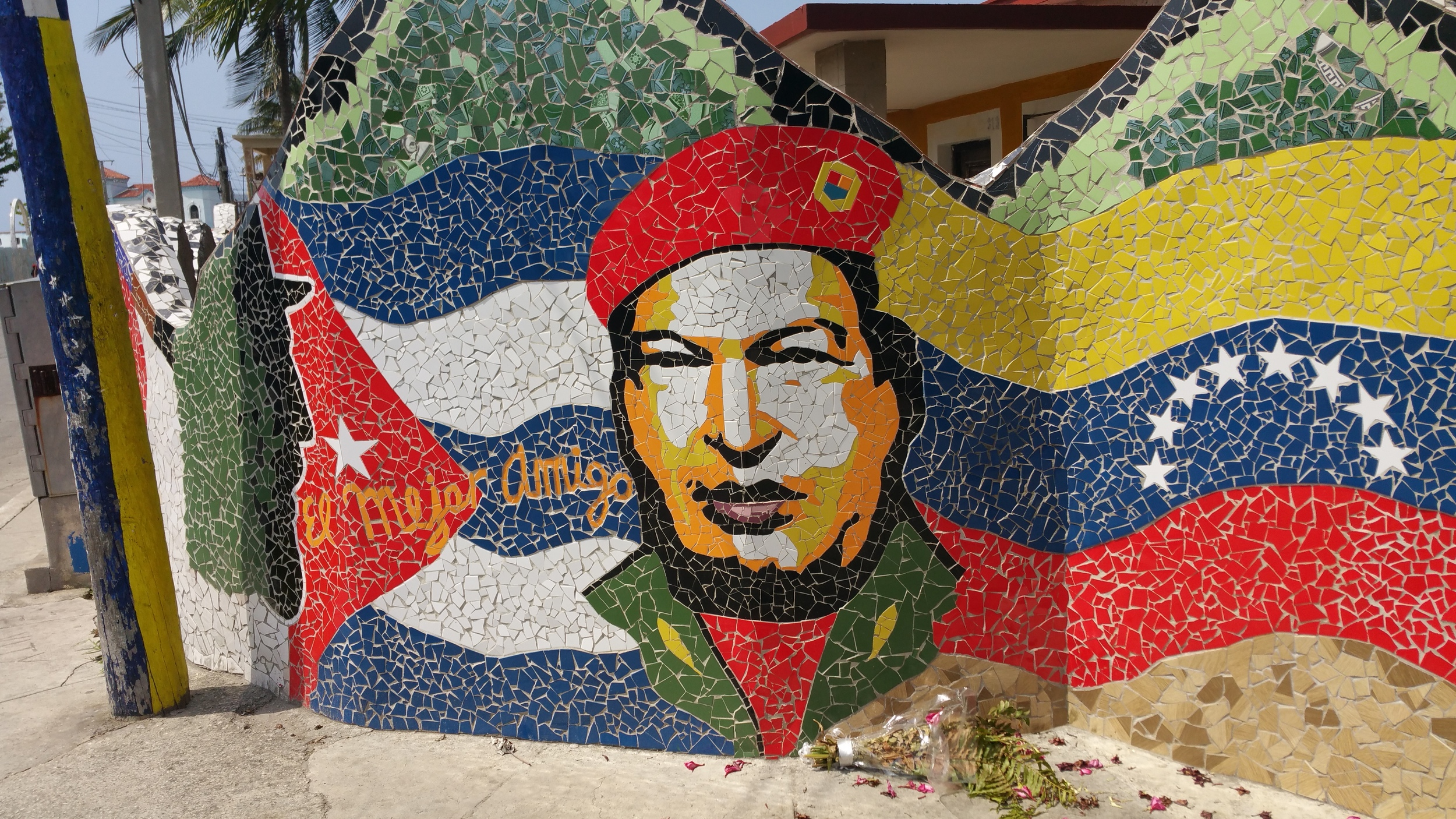 Political art representations such as this mural of the late President Hugo Chavez of Venezuela are found in many places.