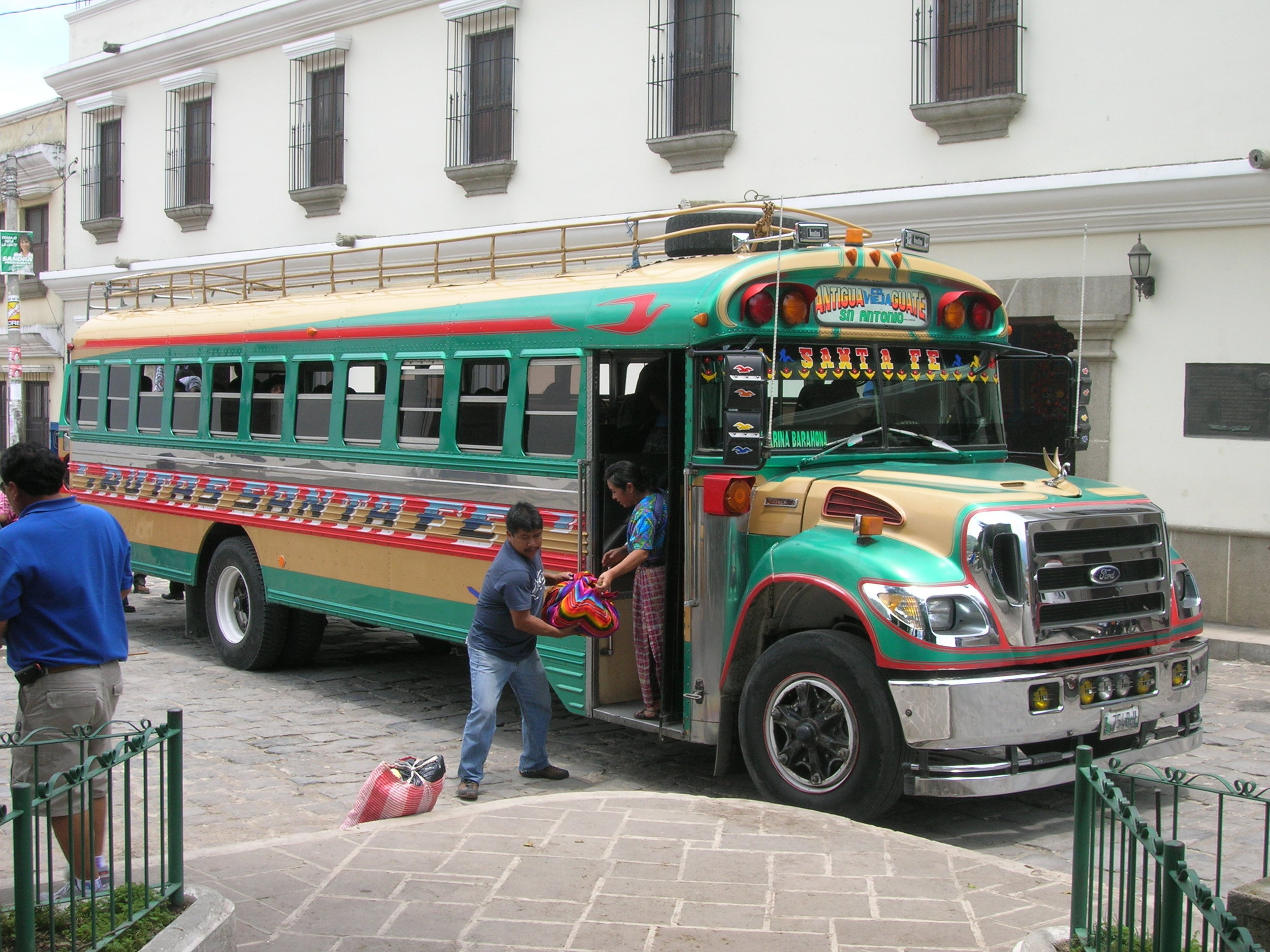 Vibrantly painted school bus are everywhere in Guatemala. They are the primary mode of transportation for goods and people between towns and cities.