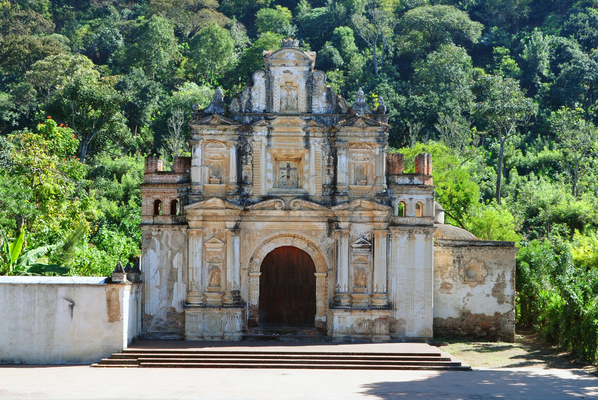 Beautiful Antigua, the former colonial capital of Guatemala, has many Cathedrals and historic building.