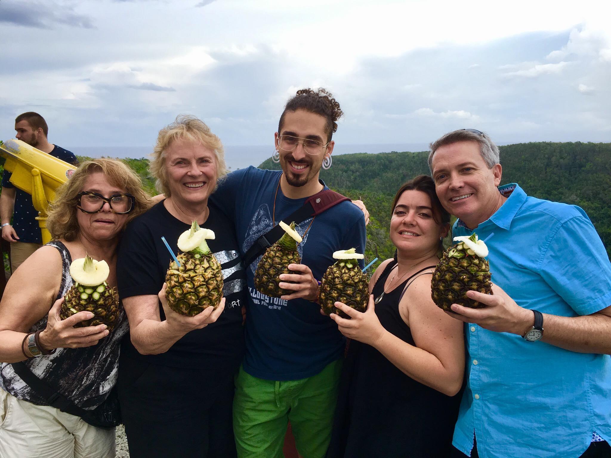 Rainbow World fund crew taking a break with pina coladas in Matanzas (2018)