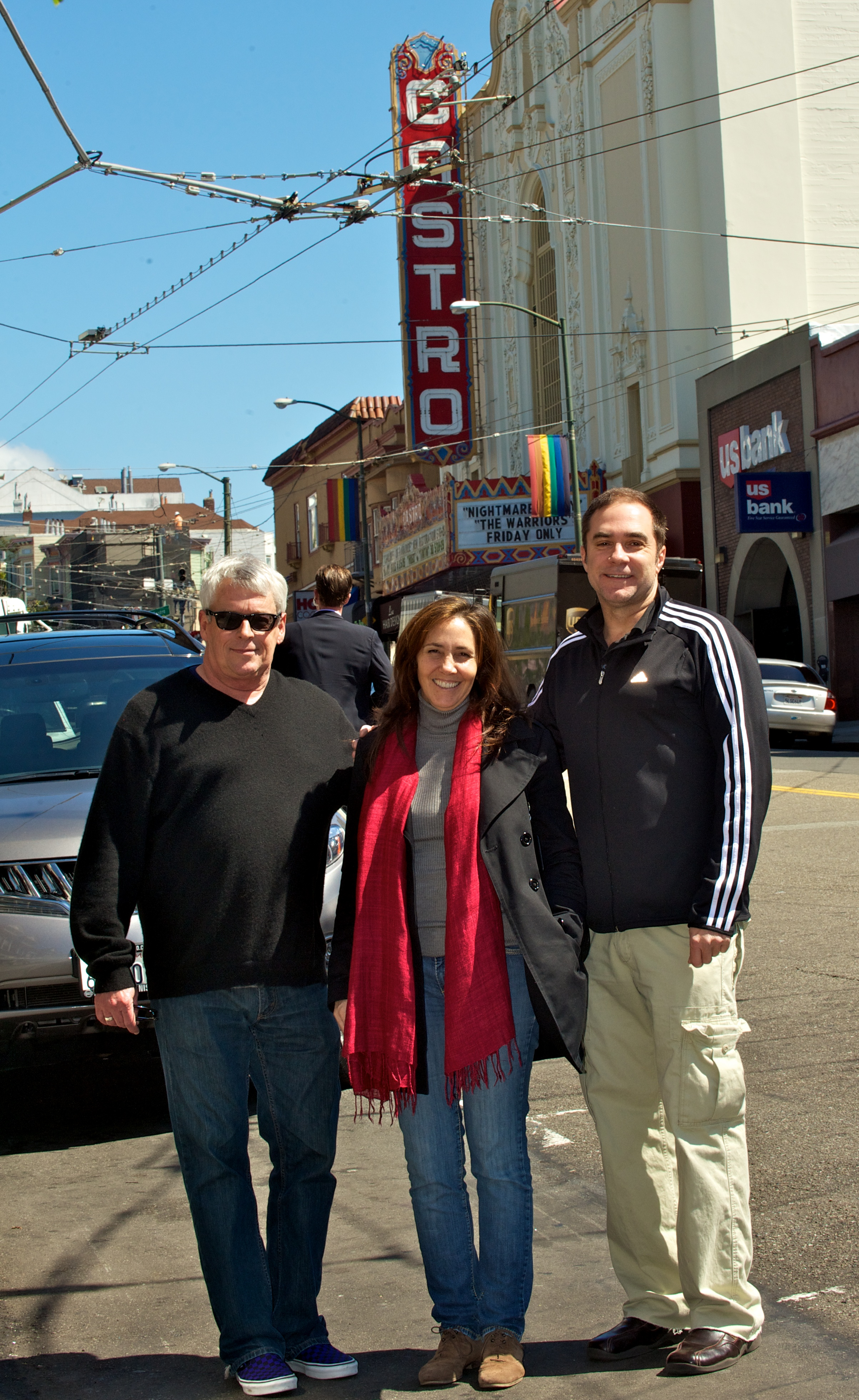 Cleve Jones, Mariela Castro and Jeff Cotter in front of the San Francisco's Castro Theater (2012)