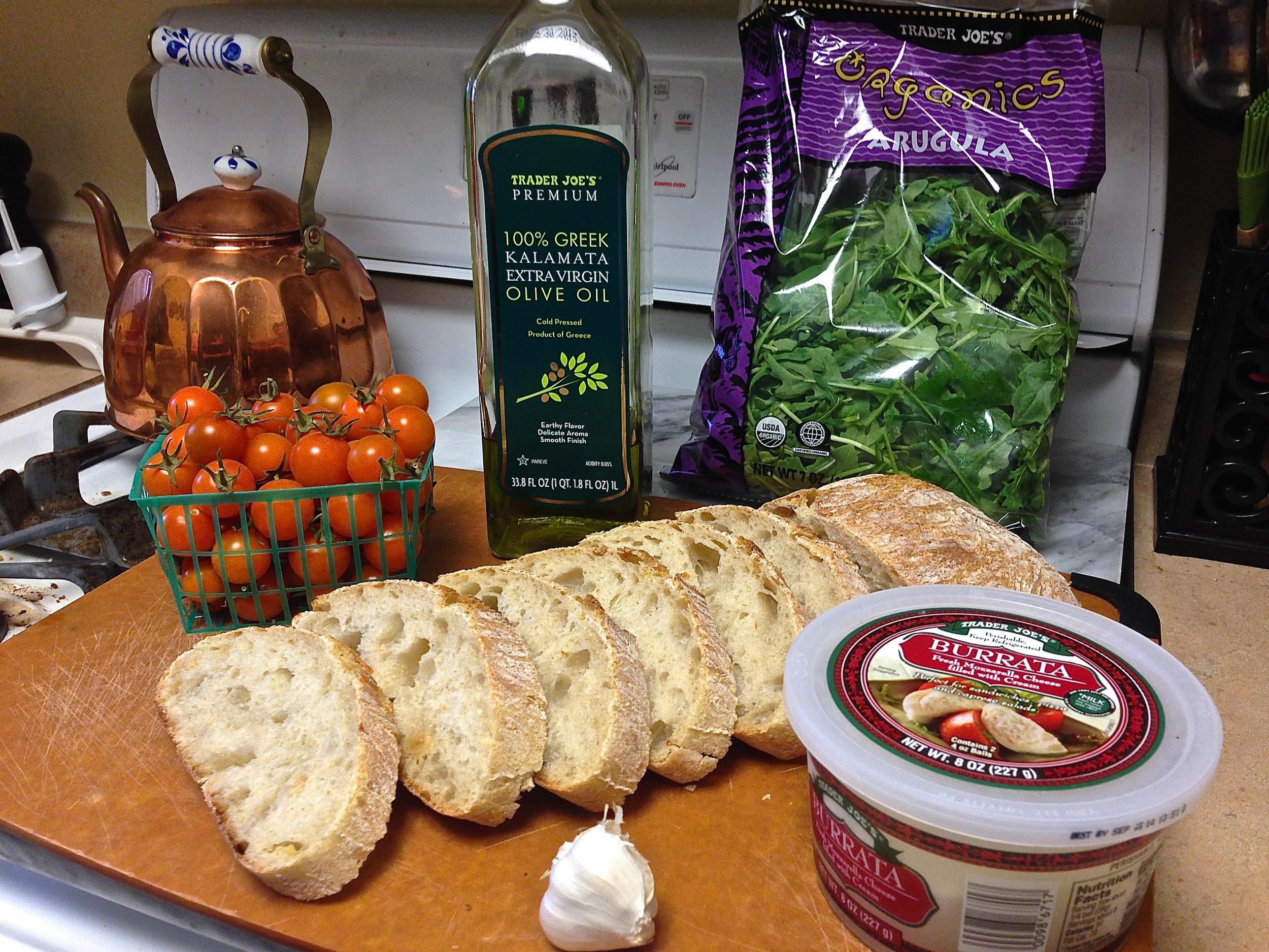 Burrata & Roasted Cherry Tomato Crostini by Kneading Home