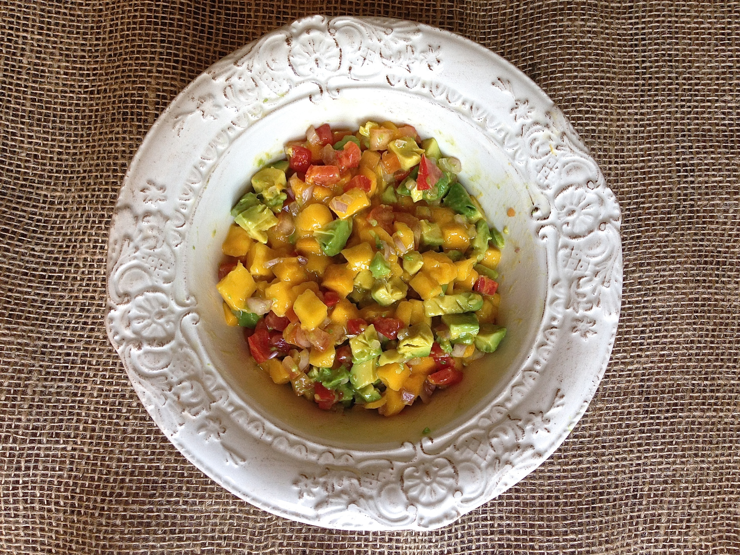 Crispy Coconut Eggplant with Avocado Mango Salsa | Kneading Home