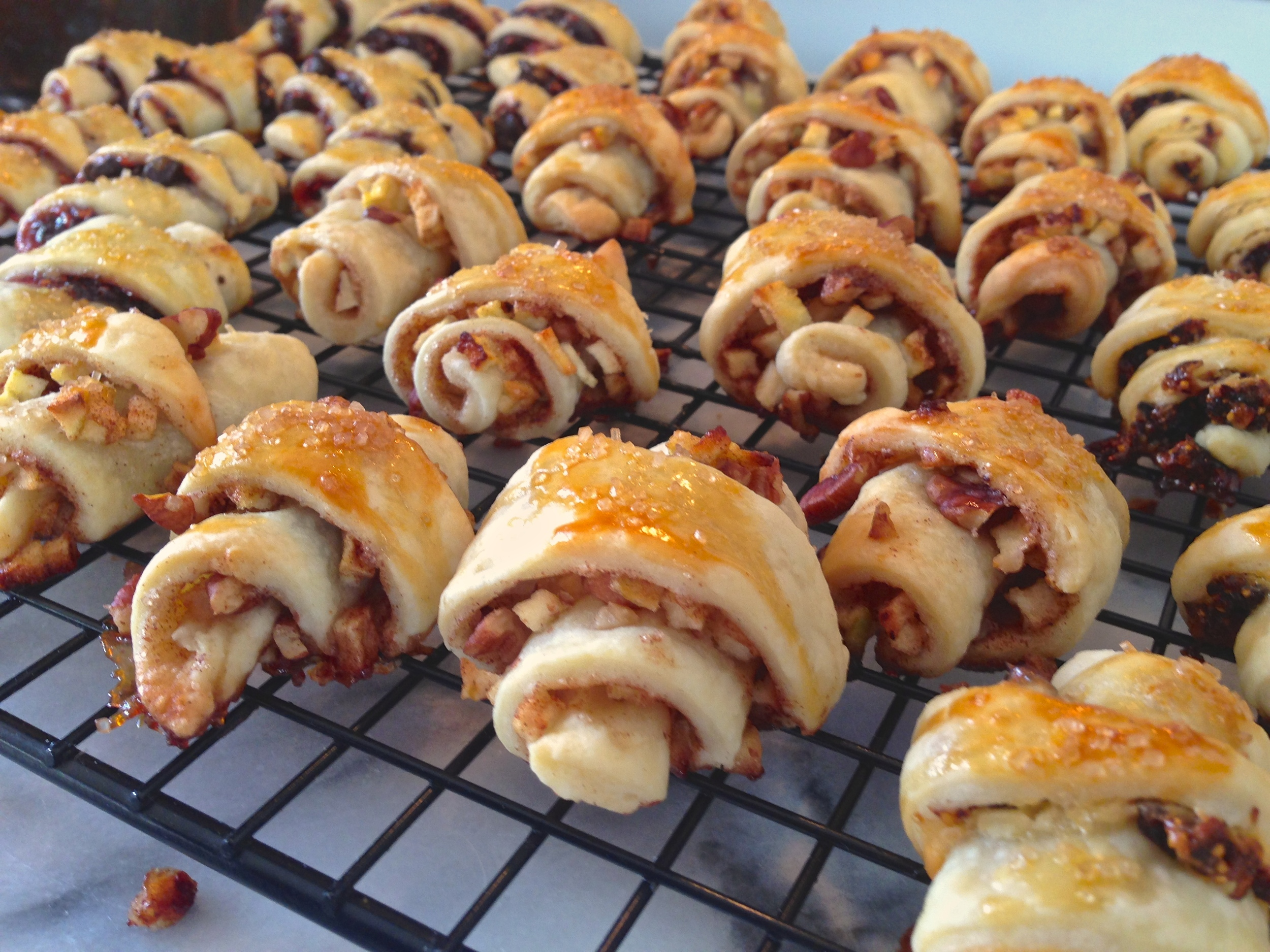 Homemade Rugelach 3 Ways: Chocolate Raspberry, Cinnamon Apple with Toasted Pecans, & Honeyed Fig with Goat Cheese   Kneading Home