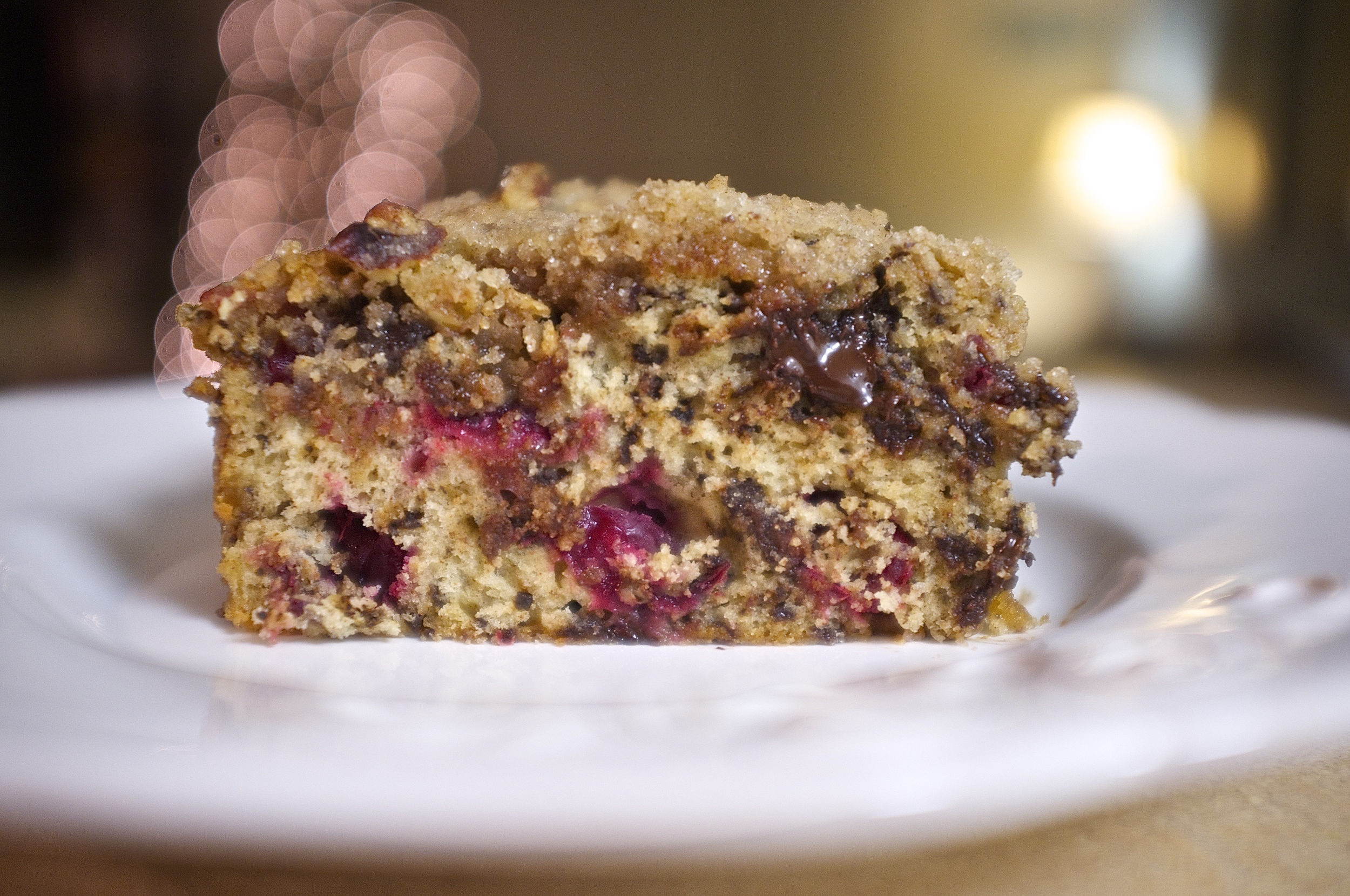 Dark Chocolate Cranberry Crumble Cake | Kneading Home