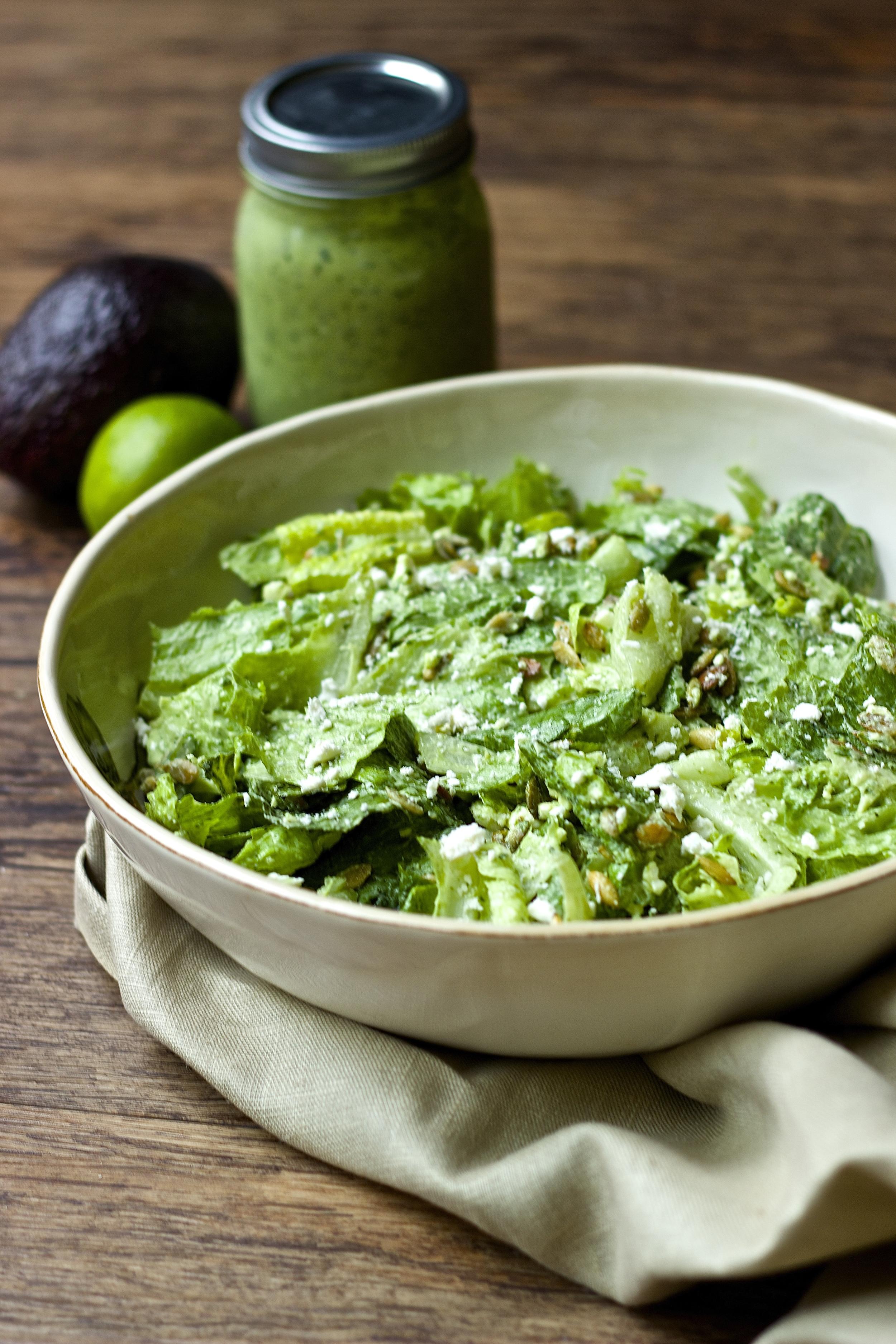 Simple Romaine Salad with Creamy Avocado Dressing, Toasted Pepitas & Feta | Kneading Home
