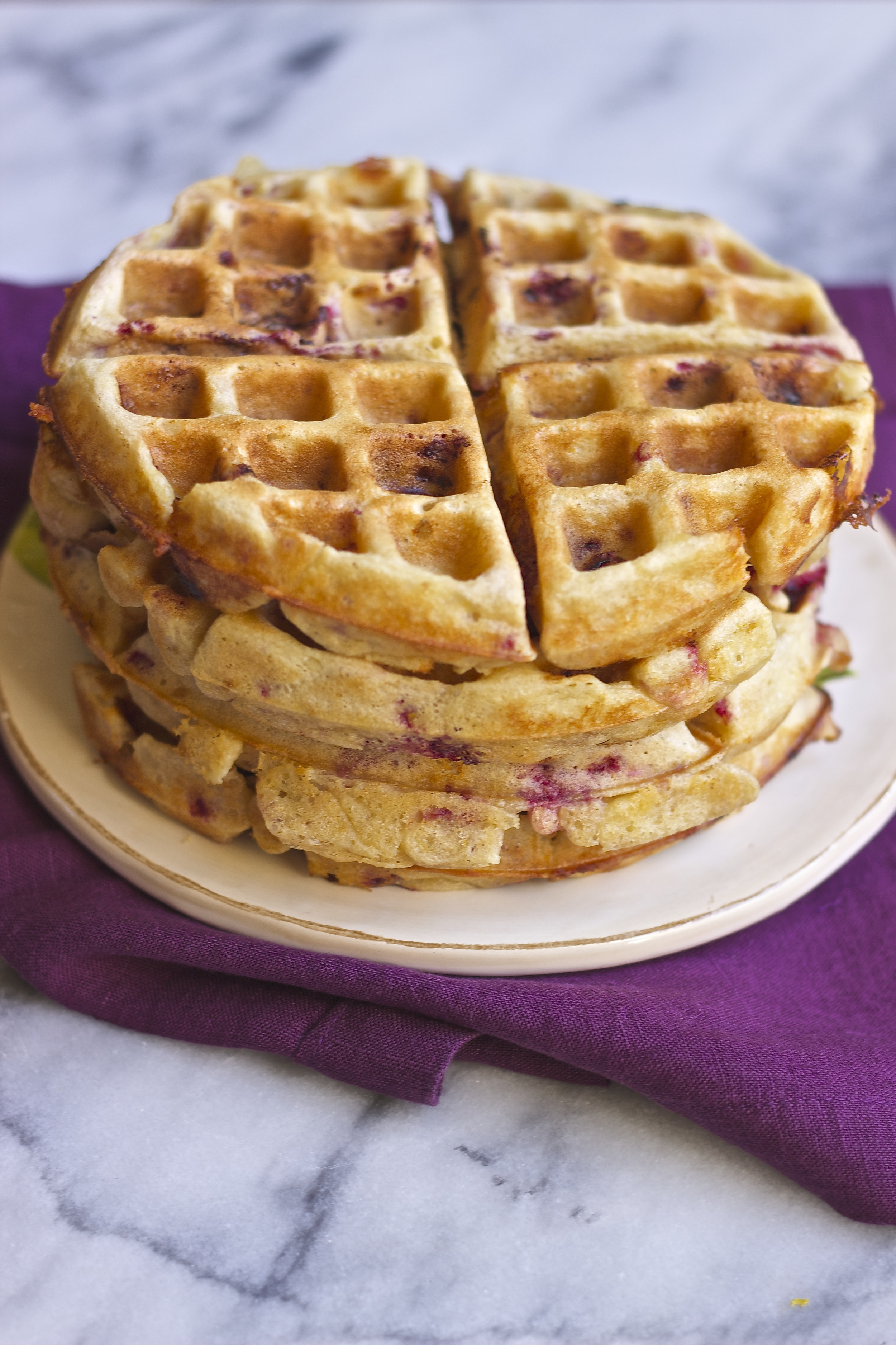 Meyer Lemon, Raspberry, Goat Cheese Waffles | Kneading Home