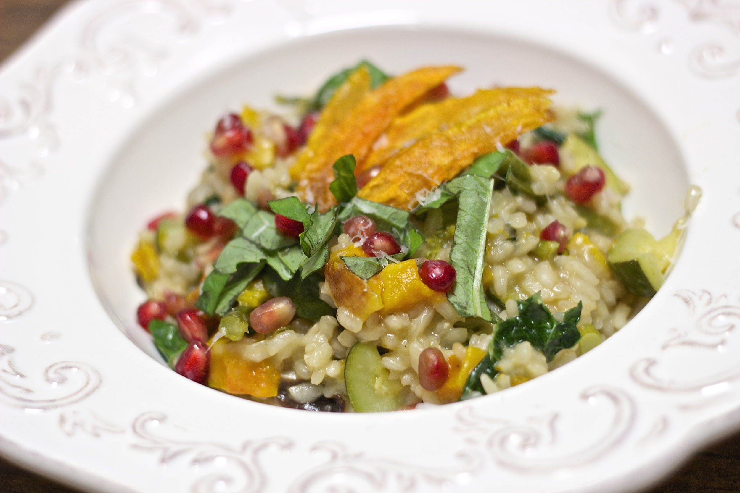 Farmstead Roasted Vegetable Risotto with Crispy Sweet Potato Chips & Pomegranate Rubies | Kneading Home