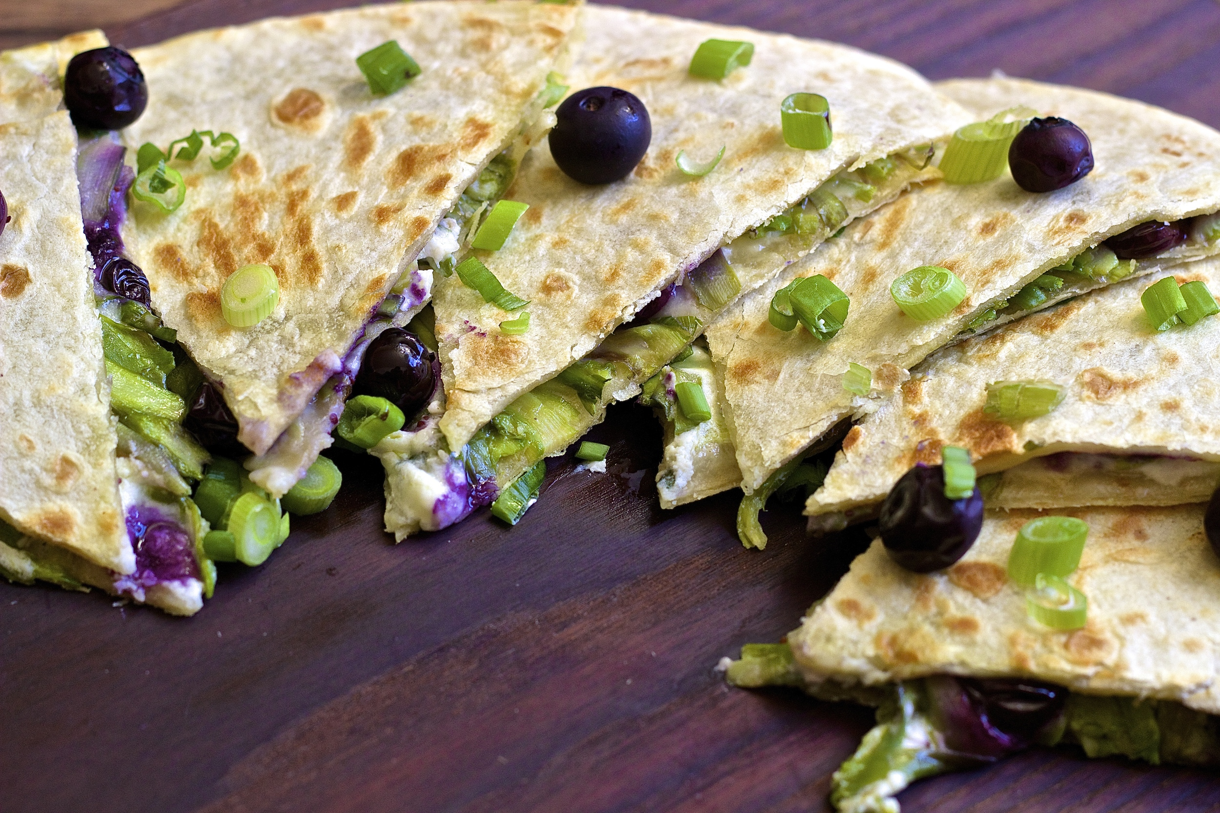 Shaved Asparagus & Roasted Blueberry Quesadillas with Herbed Yogurt | Kneading Home