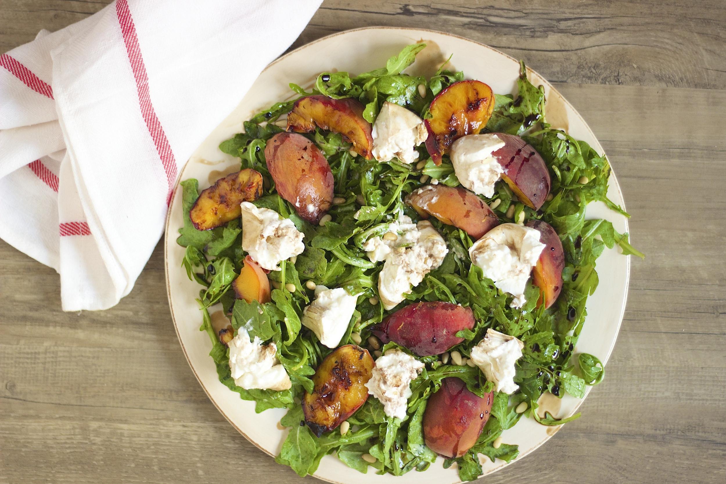 Grilled Peach + Burrata Salad | Kneading Home