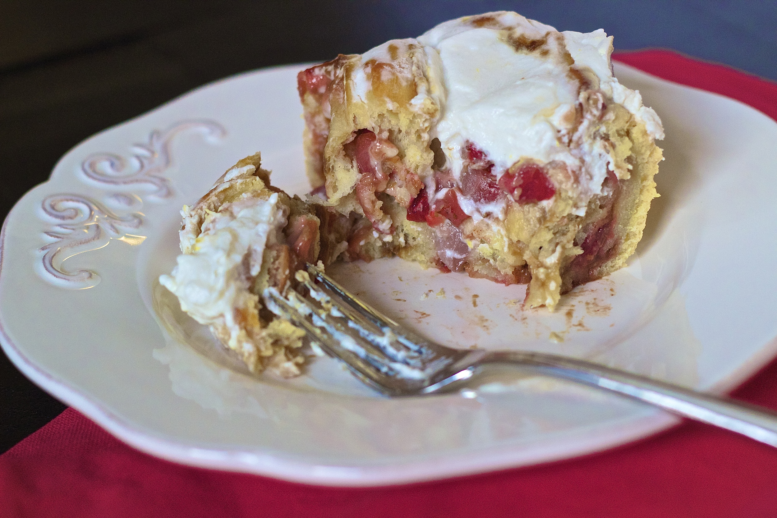 Strawberry Rhubarb Cinnamon Rolls | Kneading Home