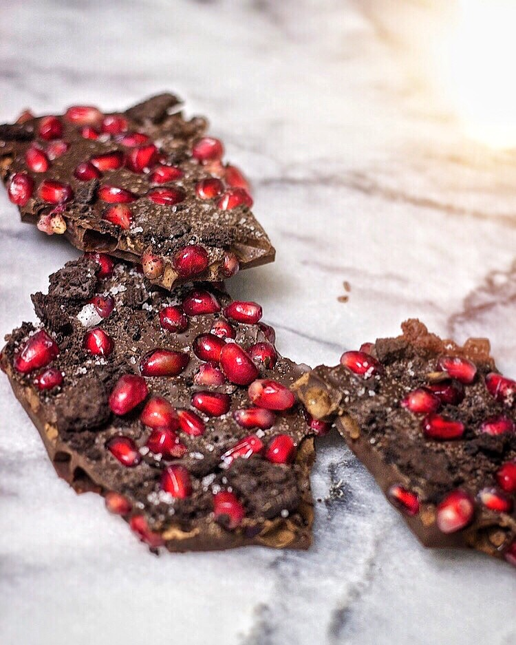 Dark Chocolate Bark with Pomegranate, Sea Salt, and Chocolate Cookie Crumbs | Kneading Home