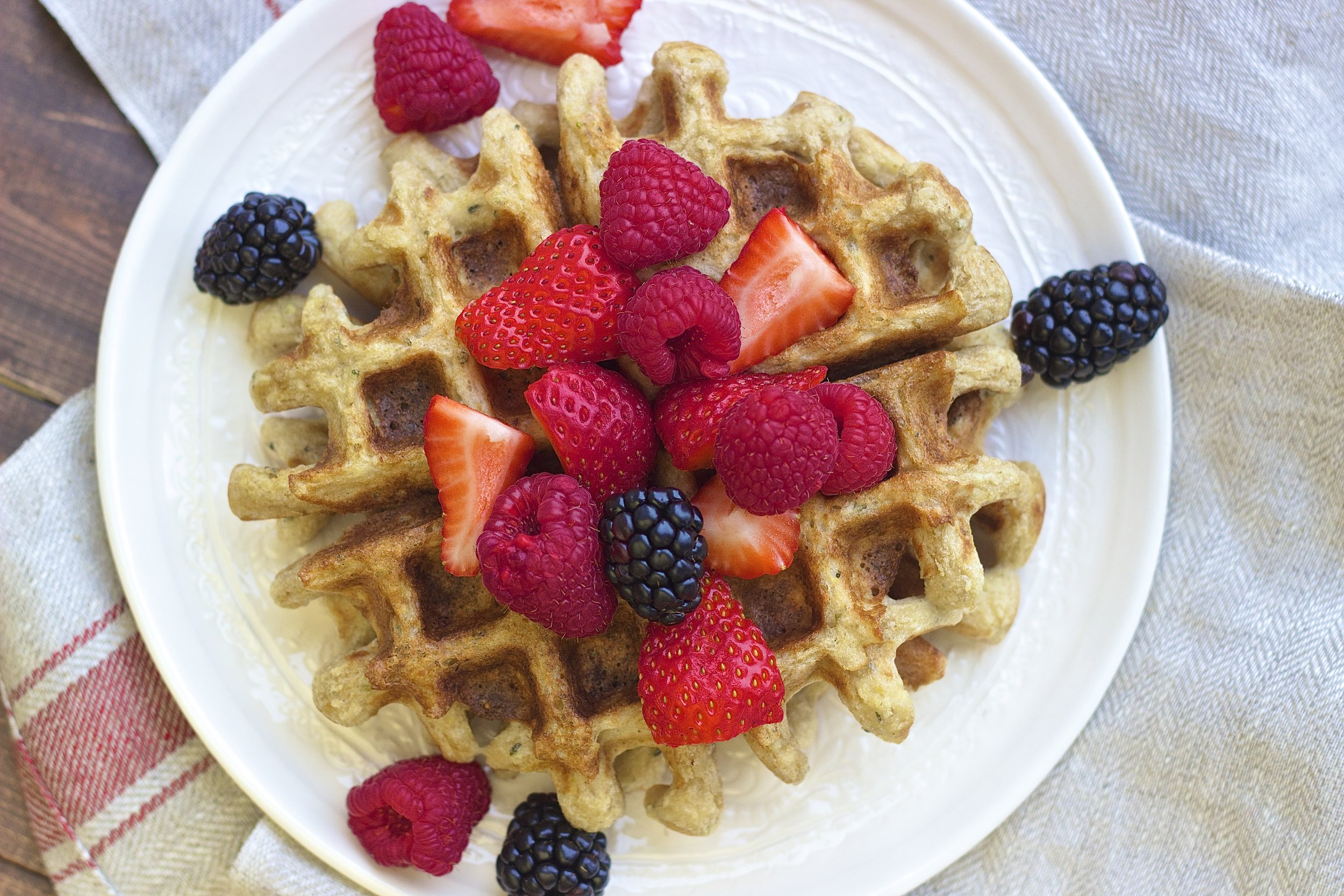 Seedy Sprouted Sourdough Waffles | Kneading Home