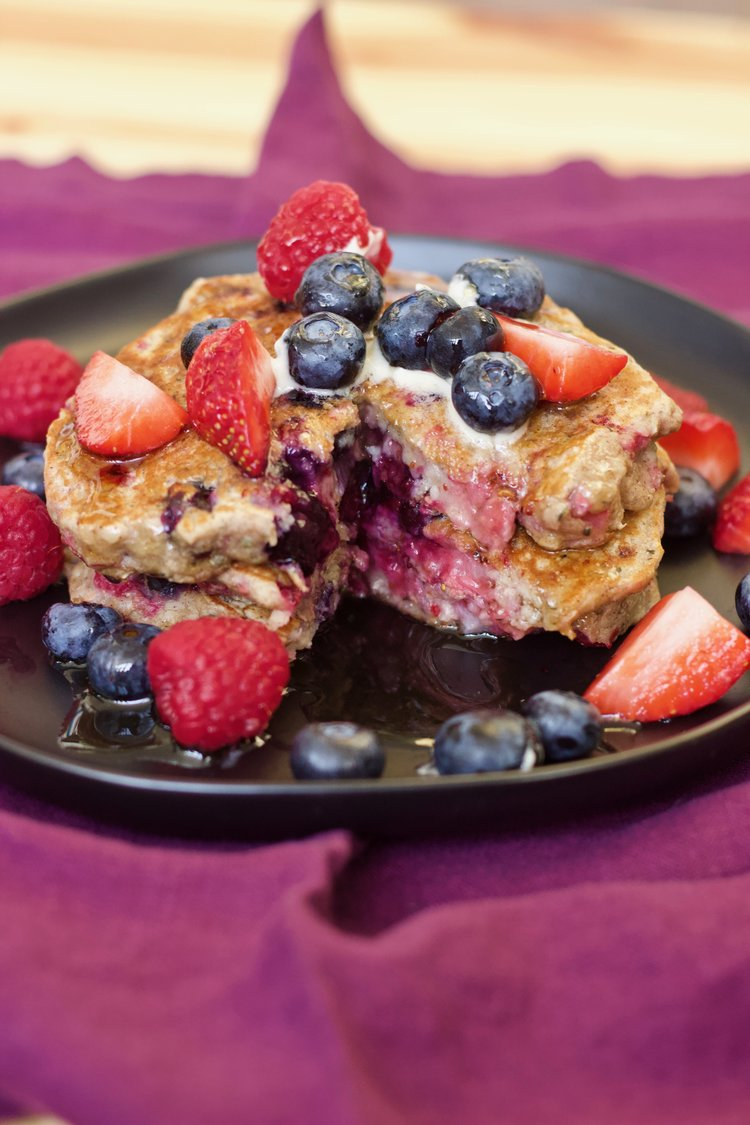 Triple Berry and Oat Pancakes  were my biggest obsession during pregnancy. I loved berries before I got pregnant and I still love them now, but while I was pregnant I was constantly ravenous for them. Frankie is probably filled with antioxidants. Anyway, I wrapped 3-4 of these pancakes in tin foil then threw everything into freezer bags and defrosted in the breville toaster.
