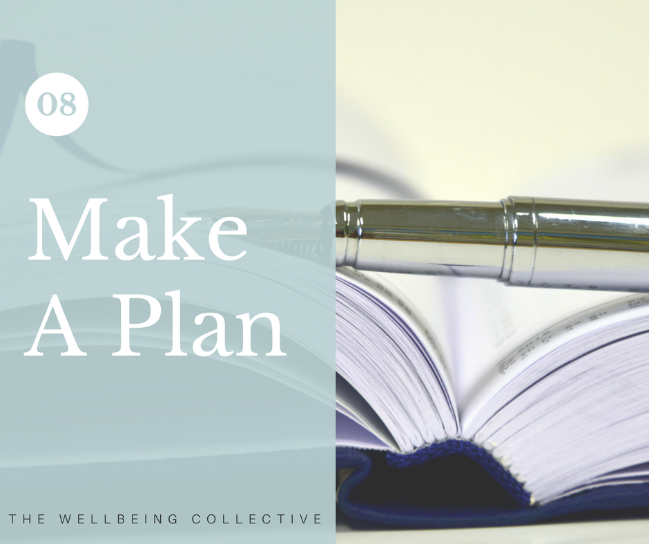 #8. Make a plan - Plan ahead to manage situations you anticipate could be stressful for you.Use planning to maintain a sense of control and reduce or eliminate the things that cause you stress ahead of time. The less stress in your life, the happier you'll feel.Planning is a time-tested tactic to identify and mitigate stressful triggers in your life. What's a likely stress source for you? For example, reduce the stress of public speaking by scheduling in adequate time to rehearse and prepare yourself. Bypass deadline panic by comprehensively breaking down the actual time a project will take without being over optimistic.Creating a realistic estimate, supported by a clear breakdown of the tasks involved, will help you to assess the feasibility and whether you need to negotiate an extension.