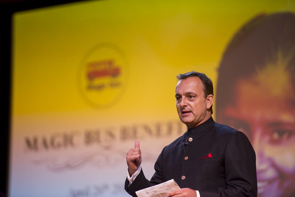 Matthew Spacie speaks at the Magic Bus Gala, Singapore, April 2014