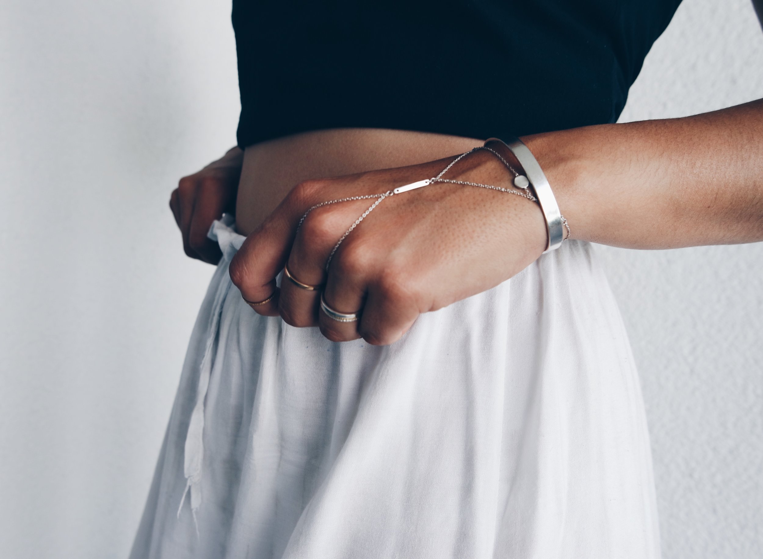 Drop handchain, Foundation bangles & rings