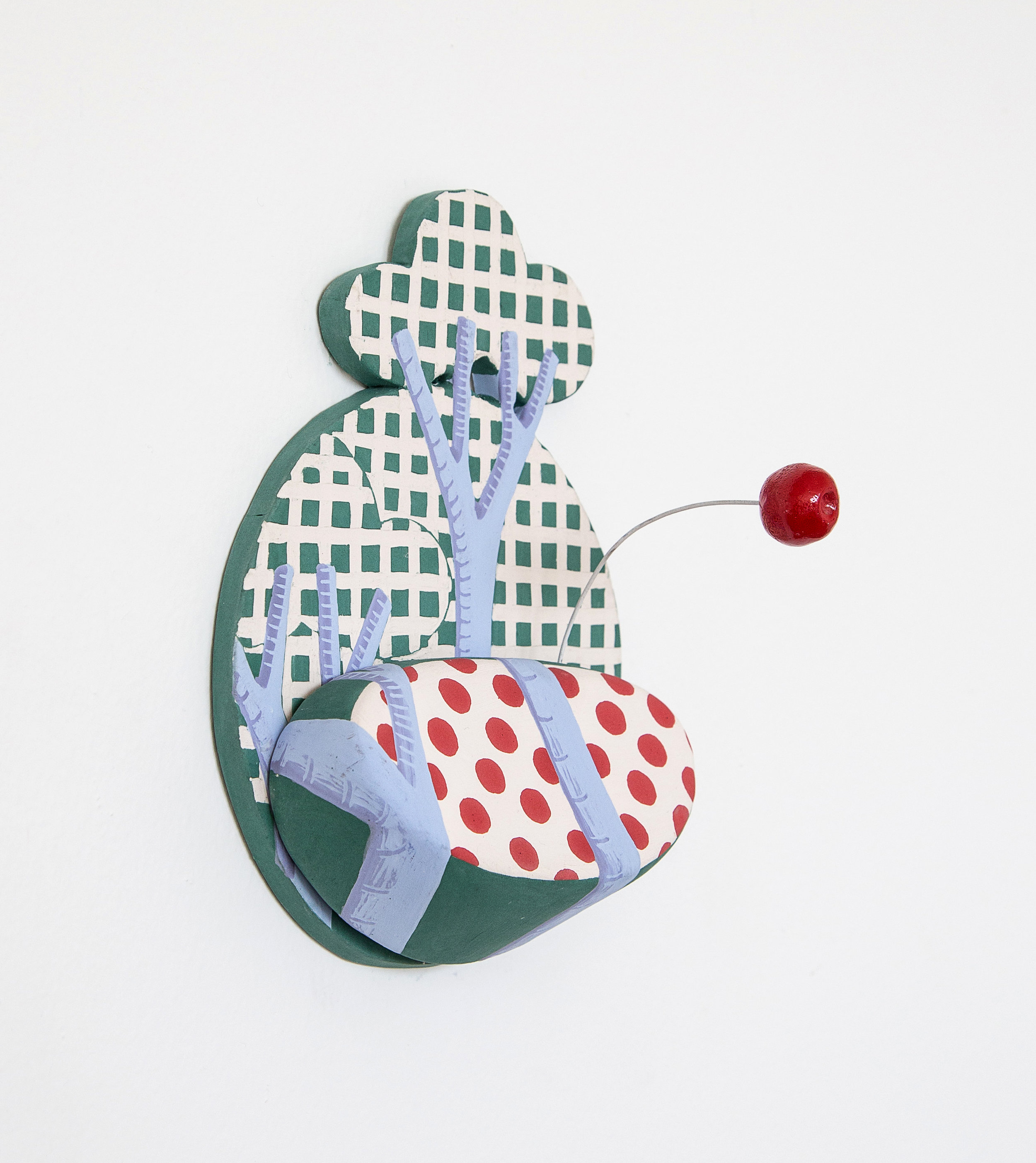 Shifty Rickrack with Boing    Porcelain tile, shelf, and appendage with wire; 7.25 x 6 x 4 inches; 2017