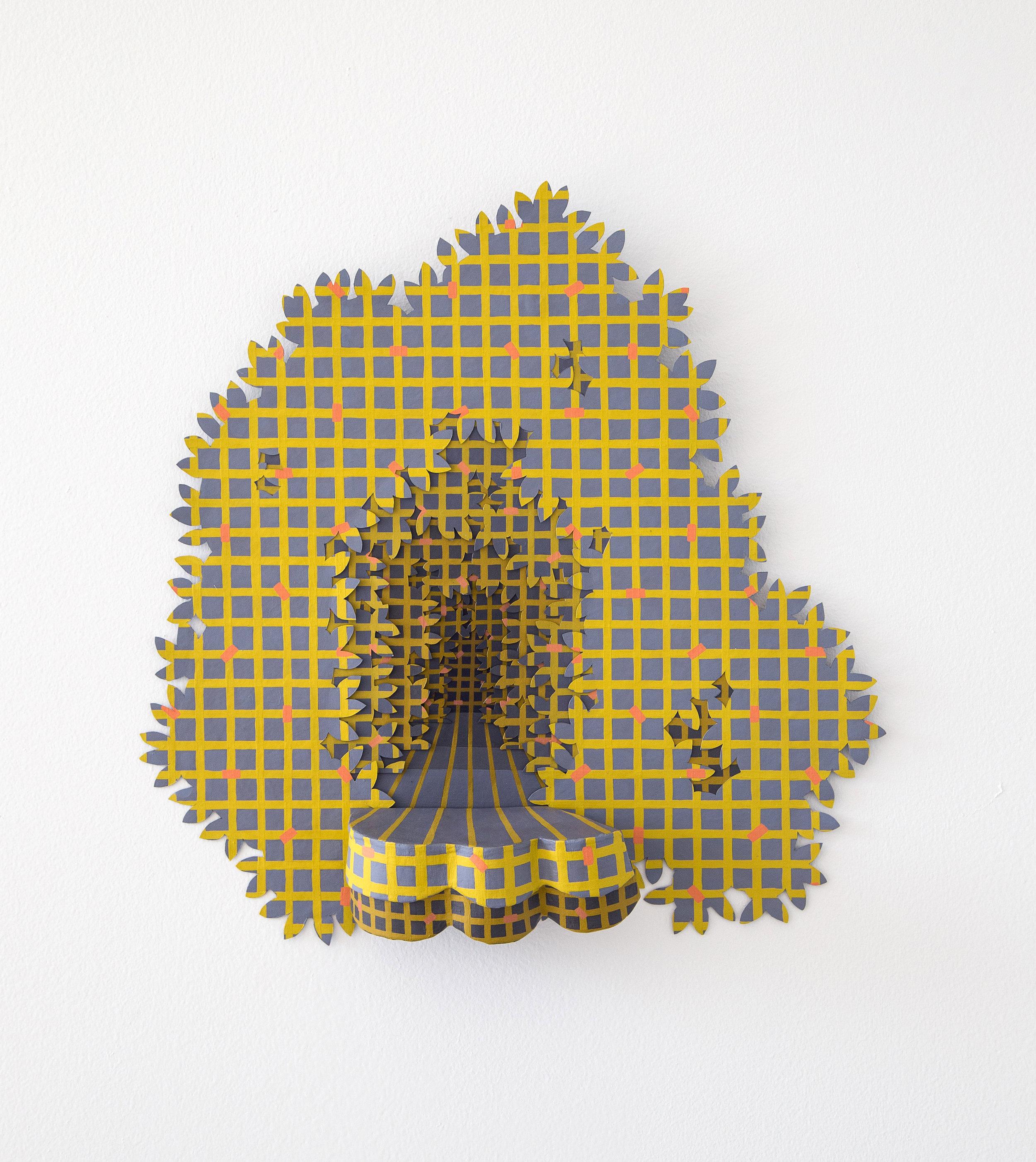 Lattice Supertemporal    Gouache, tyvek, and paper mache; 19 x 19.5 x 4 inches; 2017