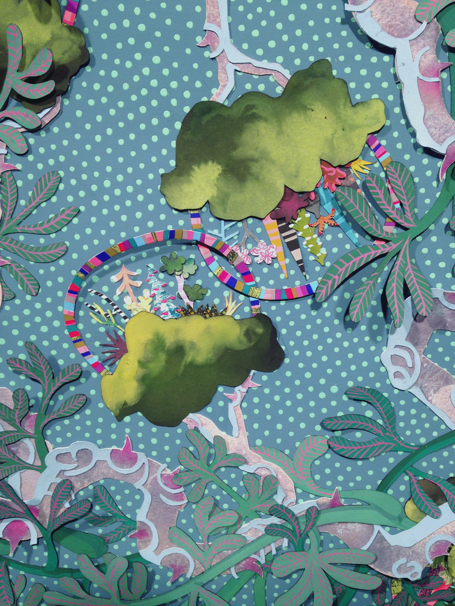 Hanging Garden   - DETAIL  Gouache on paper collage on hand painted paper; 34 x 34 inches; 2014