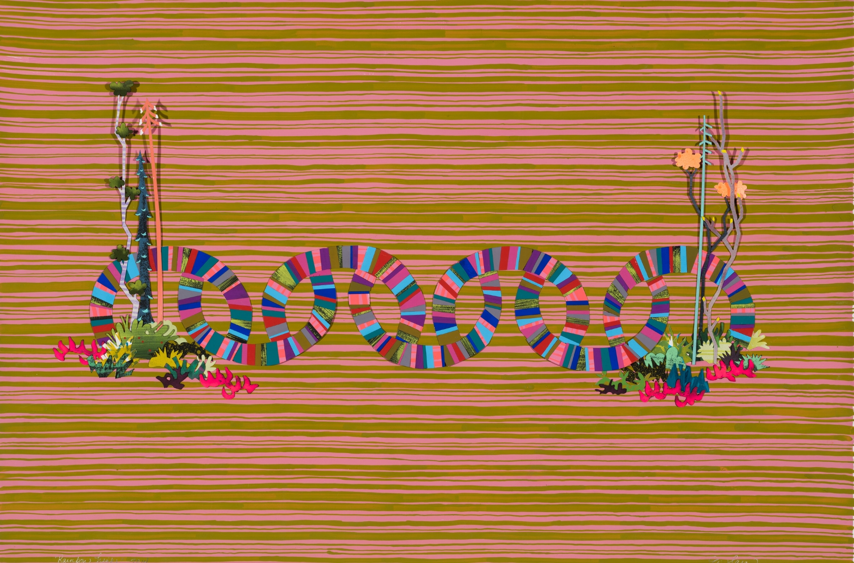"Rainbow Links     Gouache on paper, hand-cut and collaged; 19"" x 30""; 2014"