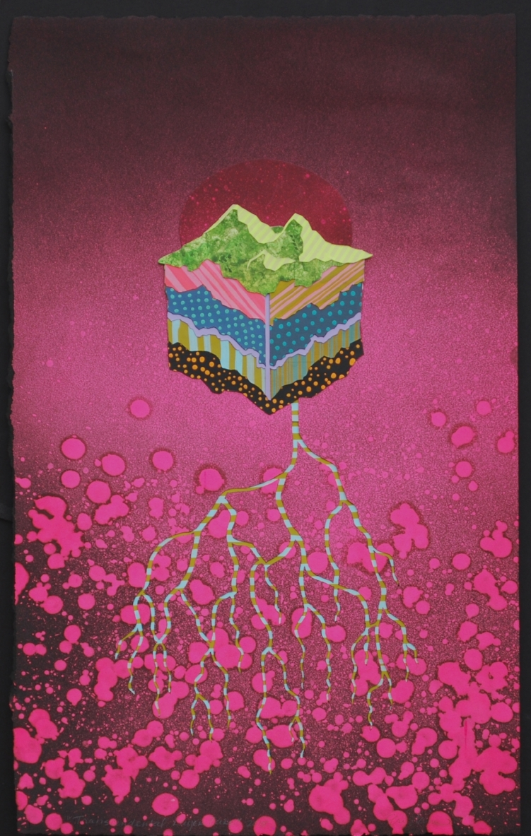 Transcendental Layer Cake    Gouache on paper, hand-cut and collaged; 17.5 x 25 inches; 2015